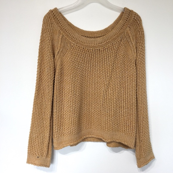 Free People Sweaters - Free people wide neck knit tan sweater top